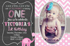Elephant Invitation, Girls Pink Elephant Birthday Invitation printed