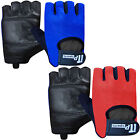 Leather Cycling Gloves Padded Fingerless Bicycle / Cycle Mitts Gloves Mesh Back