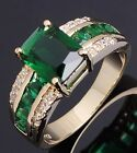 Fashion Size 6, 7,8,9,10 Man Womans Emerald Cz 18K Gold Filled Wedding Ring Gift