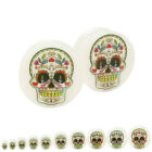 Sugar Skull Double Flared Glow in the Dark Acrylic Ear Plug Pair