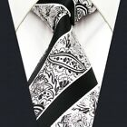 Y29 Extra Long Size Mens Necktie  Silk Stripes Paisley New Design Grey Classic