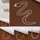 1pc Classic Silver Plated Chain Necklace 1/2/3mm 16in -24in For Women Fashion AS