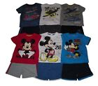 Boys Shorts & T-Shirt Set Outfit 2 Piece Official Disney Mickey Mouse Or Planes