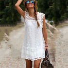 Women's Casual Sleeveless Sundress Summer Lace Mini Dress Crew Neck White Dress