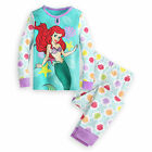 Disney Store Princess Ariel 2PC Long Sleeve Tight Fit Pajama Set Girl Size 5 6