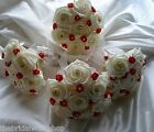 Wedding Flowers 4 Rose & Ribbon Handtied Diamante Posy Bridesmaid - All Colours