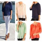 Chiffon Pleated Loose Summer Time Womens Top Fashion Blouse 3/4 Sleeve Shirt