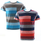 Duck and Cover Krypton Block Stripe T-shirt Mars Red or Bay Blue Various Sizes