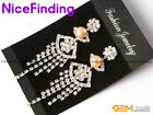 8-9mm Fashion Jewelry Gold Plated Rhinestone Dangle Stud Pearl Earrings NF4565