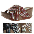 Volatile Excess Women's Wedge Cork Rhinestone Sandals Runs Small Order Size Up