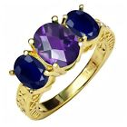 3.54 Ct Checkerboard Amethyst Blue Sapphire 18K Yellow Gold Plated Silver Ring