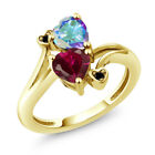 1.95 Ct Heart Shape Created Ruby Mystic Topaz 18K Yellow Gold Plated Silver Ring