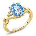 1.85 Ct Mystic Quartz White Topaz 18K Yellow Gold Plated Silver Ring