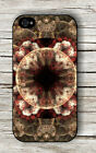 FRACTAL BROWN CIRCLES FASHION DESIGN #2 CASE FOR iPHONE 4 5 5C 6 -ihj7Z