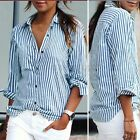 Women Long Sleeve Loose Casual Striped Shirt Tops Button Down Blouse Size S-5XL