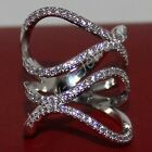 Handmade Lady's CZ Stone Pave Silver Big Silver Band Cocktail Ring Free Shipping