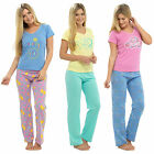 Ladies Cotton Summer Pyjamas Print Top T-Shirt & Long Bottoms PJs Nightwear Set