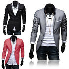 Stylish Men Solid Casual Jacket Classic Two Button Slim Fit Blazer Coat Overcoat