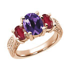2.96 Ct Oval Purple Amethyst African Red Ruby 14K Rose Gold 3-Stone Ring