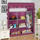 Jumbo Fabric  Wardrobe Cupboard Hanging Rail With Storage Shelves Triple Hot