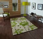 Hand Tufted Luxurious Bright Vibrant Green Cream Flower Petal Patterned Area Rug