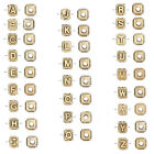 Antique Gold Plated Capital Initial 8x6mm Cube Letter Bead with Big 3mm Hole