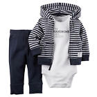 "Carter's Boys 3 Piece Navy Striped Zip Up Hooded Cardigan, Navy Pant & White ""I'"