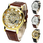 Mens Womens New Perfect Roman Numerals Faux Leather Skeleton Sports Wrist Watch