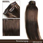 Full Head Clips In 100% Remy Hair Extension #4 medium dark brown 16''-30''