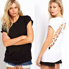 Women Angle Wing Back Hollow Out T-shirt Tops Round Neck Rolled Cuffs Blouse US