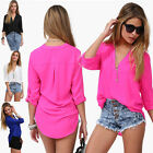 Hot Solid Women Loose Chiffon V-Neck Tops Long Sleeve Casual Shirt Blouse