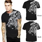 Fashion T-shirt 3D Print White Lion Head Short Sleeves Tee Tide Male Clothing u