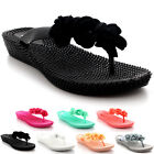 Womens Jelly Wedge Heel Summer Festival Floral Ruffles Sandals Flip Flops UK 3-9