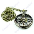 Vintage Retro Pocket Watch Bronze Tone Pendant Necklace Chain Quartz Steampunk