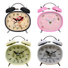 French Country Style Silent Bell Alarm Clock Hours Quartz Bedroom Night Light