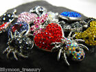 SNAP BUTTON rhinestone crystal pave polymer clay butterfly heart turtle bear