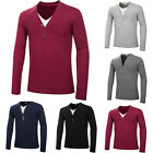 Stylish Mens Long Sleeve Basic Tee Casual T-Shirt GYM Sports Tee V-Neck Tops Hot