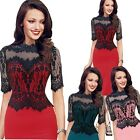 Sexy Lace Stitching New Fashion Dress Pencil Half-sleeve Skirt Cocktail Party u