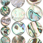 Lot of 6 Natural Iridescent Paua Shell Flat Round Coin Seashell Beads Small- Big