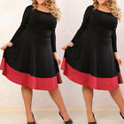 Plus Size Women 3/4 Sleeve Bodycon Party Sexy Evening Short Mini Skater Dress