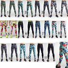Men's Sport Compression Leggings Base Layer Long Pants Gray Camo Summer Trousers