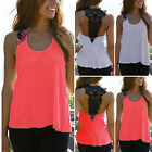 Womens Sleeveless Casual Lace Backless Cotton Vest Shirt Tops Blouse Top Tank