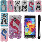 For Samsung Galaxy S5 mini G800 Design BLING HARD Case Phone Cover + Pen