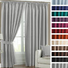 Faux Silk Blackout Thermal Coated Ready Made Pencil Pleat Curtains with Tiebacks