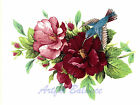 Ceramic Decals Hummingbird & Hibiscus Floral Flower Humming Bird image