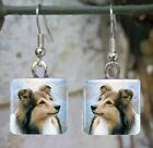 Handmade jewelry glass earrings Dog 122 Sheltie Collie art painting L.Dumas
