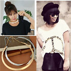 Punk Metallic Polished Collar Necklace Curved Mirrored Choker Metal Circle Chain