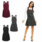 Ladies Casual Pinafore Dungarees Buttoned A Line Mini Dress Playsuit Cross Back