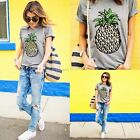 New Fashion Women Pineapple Short Sleeve Round Neck Tee Top Blouse T-Shirt Shirt