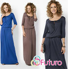 Womens Evening Maxi Dress 3/4 Sleeve Scoop Neck Full Length Plus Sizes 8-18 FM20